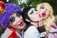 Cosplay of emporio ivankov the okama queen, mr two bon clay, and black feet sanji (kuro ashi no sanji) from one piece