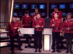 "Toast on the set (Star Trek movie V). Yay for the ""fab four"" (Scotty, Chekov, Sulu, and Uhura)! :)"