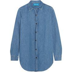 M.i.h Jeans Denim shirt ($255) ❤ liked on Polyvore featuring tops, mid denim, denim top, cut loose tops, star print top, midi shirt and blue shirt