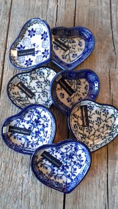 Polish Pottery~ Blue and white ceramic hearts Blue And White China, Blue China, Love Blue, Tadelakt, Blue Pottery, Himmelblau, Polish Pottery, White Decor, White Porcelain