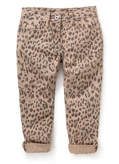 BOUGHT A PAIR FOR EACH OF THE GIRLS !Cotton twill skinny leg pant in all over ocelot print with zips at cuff.