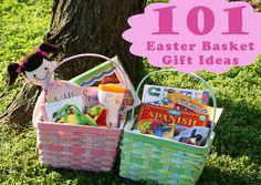 101 Easter Basket Gift Ideas from the Mom Creative great ides for Easter baskets or Christmas stockings easter dinner 101 Kids Easter Basket Ideas - The Mom Creative Easter Gift Baskets, Basket Gift, Easter Decor, Holiday Crafts, Holiday Fun, Holiday Ideas, Hoppy Easter, Easter Bunny, Easter Treats