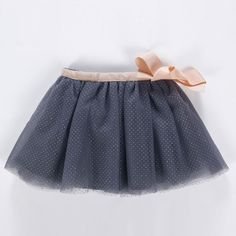 falda gris tul topos plata