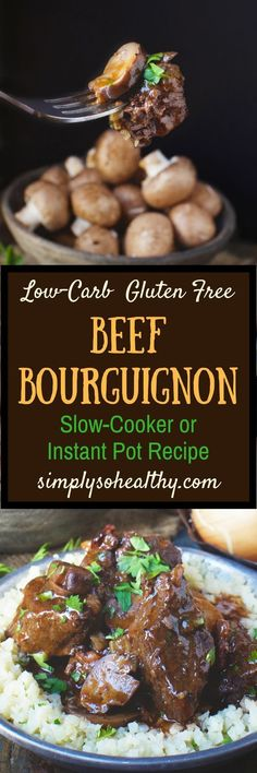 This recipe for Low-Carb Beef Bourguignon Stew can be made in an Instant Pot or a slow cooker. I've altered this traditional French stew recipe so it can be part of a low-carb, keto, Atkins, diabetic, Paleo, gluten-free, grain-free, or Banting Diet.#lowcarb #keto #instantpot #beefstew #cleaneatingdietrules #diabeticdiet #diabetesdiet