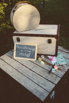 LA-Weddings (16) Wedding Guest Book, Future, Boxes For Gifts, Quirky Wedding, Urn, Save The Date Cards, Suitcase, Future Tense