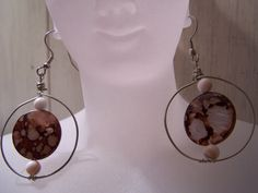 Wire Circle Shell Pendant dangle earrings by by NoheaCreations, $5.00