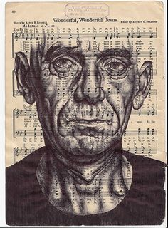 Mark Powell, Speaking in Tongues (Prattle). Bic biro drawing on music sheet, © Mark Powell L'art Du Portrait, Portraits, Arte Gcse, Mark Powell, Biro Drawing, Painting & Drawing, Gcse Art Sketchbook, A Level Art, Meet The Artist