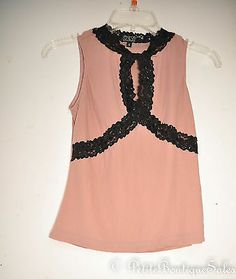 DARK MAUVE BLACK LACE BEADED SEQIN CUT OUT SHIRT TOP BLOUSE SIZE S SMALL
