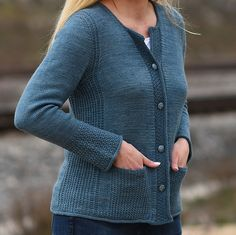 Ravelry: Monday in Blue pattern by Christina Körber-Reith Ladies Cardigan Knitting Patterns, Knit Cardigan Pattern, Knit Patterns, Sweater Cardigan, Ravelry, Knit Jacket, Cardigans For Women, Baby Knitting, Knitted Hats