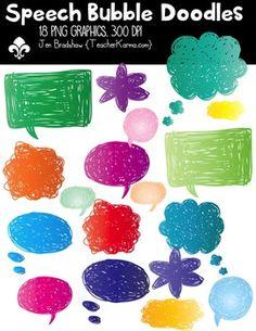 {1/2 price today} Speech Bubble Doodles Clipart ~ Commerci