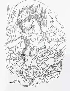 Wolf Tattoos, Tatoos, C Tattoo, Asian Tattoos, Japanese Tattoo Designs, Oriental Tattoo, Samurai Tattoo, Tattoo Sketches, Line Art