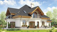 Dzierlatka III styl z garażem 2-st. [A] - zdjęcie 2 House Plans Mansion, Duplex House Plans, Dream House Plans, 4 Bedroom House Designs, Bungalow House Design, Modern House Design, Home Building Design, Building A House, Modern Bungalow House