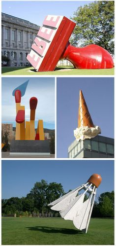 Giant objects. Claes Oldenburg is a Swedish sculptor who makes large replicas of everyday objects. He was born in 1929 and moved to Chicago in 1936. He went to Yale University and the School of the Art Institute of Chicago. He's been associated with the Pop Art movement since the 1960s. He created most of his sculptures in collaboration with his late wife Coosje van Bruggen. More here.