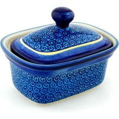 Polish Pottery 6-inch Butter Dish   Boleslawiec Stoneware   Polmedia H7521A