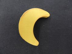 Vintage All Wood Yellow Crescent Moon Brooch Pin by TimeWarpLLC on Etsy