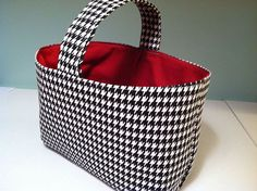 """houndstooth bag, monogrammed with a big ol'    """"A""""  of course !"""