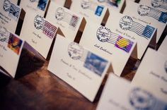 Travel theme wedding ideas. bride and groom used postcards as seating cards love to match the travel theme it #travelthemewedding #uniqueweddingideas  #weddings #phillyweddings photo by Chris Ferenzi