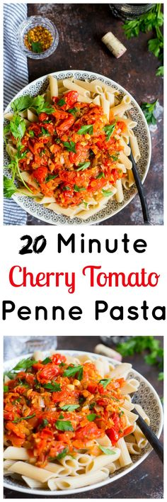 20 Minute Cherry Tomato Penne Pasta Collage