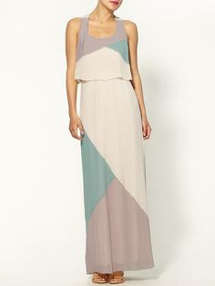 pleated #colorblock #maxidress