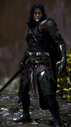 Shadow Of Mordor   Tumblr Black armor, blade, hood, male, man, glowing yellow eyes, vampire, sword, assassin.