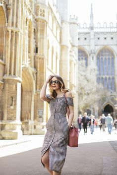 Gingham Midi Dress outfit- perfect for a city break in Europe