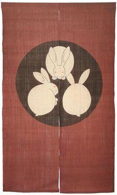 'Usagi Enji' 3-Rabbit Kamon Family Crest Noren: Designed By Rakushian of Kyoto #UsagiEnji3RabbitKamon