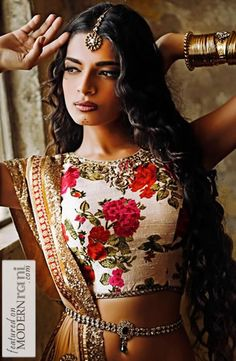Long luscious waves South Asian Bridal hairstyle - more inspiration at @ http://www.ModernRani.com
