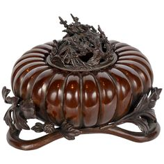19th Century Meiji Japanese Bronze Pumpkin Incense Burner 1