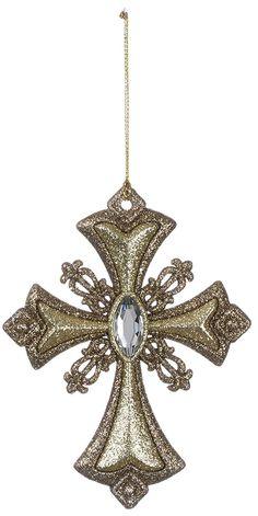 "Amazon.com: Sullivans - Glittering Jeweled Gold Cross Ornament 5"": Home & Kitchen"