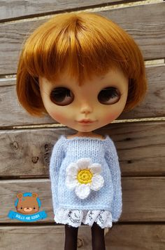 Flower daisy sweater jumper dress for Neo Blythe with by Mitilene