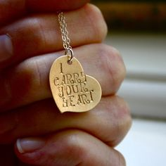 I Carry Your Heart necklace - hand stamped jewelry- sterling silver and brass