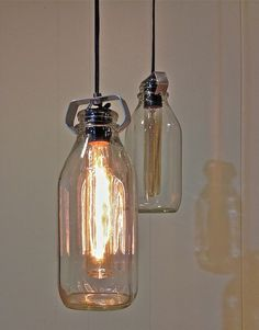 Milk bottle chandelier a dozen clear class milk bottles each old fashioned vintage milke bottle pendant light aloadofball Gallery