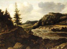 Mountainous River Landscape by Allaert van Everdingen (oil on canvas, c.1660)