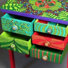 Cabinet Kaleidoscope by ArtPoPo on Etsy Funky Painted Furniture, Painted Chairs, Colorful Furniture, Paint Furniture, Painted Tables, Baby Furniture Sets, Furniture Direct, Furniture Outlet, Discount Furniture