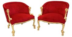 Pair of vintage Hollywood Regency-style chairs. Newly upholstered in luxurious fuchsia/hot pink velvet, the pics are showing very red but they are fuchsia. Carved wood frame with twisted rope and tassel motif, gold with bits of pink showing through.