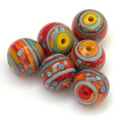 Sunshine and Rain   Round Lampwork Bead Set in Primary Colors by Sarah Hornik, $48.00