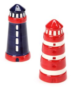 Season to taste with these ceramic salt and pepper shakers modeled after the iconic lighthouse.Includes salt shaker and pepper shaker5'' H x 1.5'' diameterCeramicHand washImported
