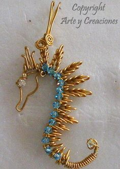Beaded Wire Seahorse Tutorial pattern for purchase Spike - Beaded Wire Seahorse Tutorial pattern for purchase Spike - Wire Jewelry Designs, Jewelry Patterns, Metal Jewelry, Beaded Jewelry, Handmade Jewelry, Jewellery, Wire Pendant, Wire Wrapped Pendant, Wire Wrapped Jewelry