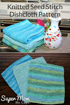 Hand knitted seed stitch dishcloths are sturdy enough to wash the dirtiest pans but soft enough for your most delicate glassware. Knit your own using this pattern with video for a unique cast on method from Super Mom - No Cape! Knitted Washcloth Patterns, Knitted Washcloths, Dishcloth Knitting Patterns, Knit Dishcloth, Knit Patterns, Hand Knitting, Finger Knitting, Knit Cowl, Knitting Stitches