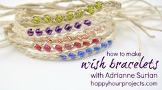 "8-minute video that will show you how to make simple braided hemp ""wish"" bracelets. The story goes that you make a wish when tying them on your wrist, and wh..."