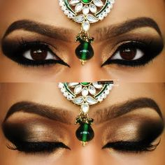 This striking smokey Arabic style eye makeup is perfect for those wanting to make a bold statement.  Add winged eye liner and false eyelashes to enhance the look.