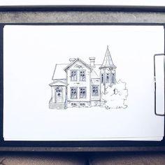 By Elin Östberg #sweden #sketch #teckning #sketchbook #skiss #målning #teckna #doodle #drawing #fineliner #ink #cottage #print #prints #illustration #art #artwork