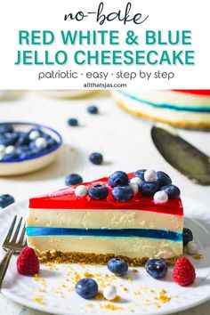 This Americana-inspired Red White and Blue Jello Cheesecake is no-bake, easy to make, and the perfect patriotic dessert for Memorial Day and 4th of July celebrations. | allthatsjas.com | #nobake #cheesecake #jello #redwhitenadblue #holiday #dessert #sweets #treat #homemade #patriotic #easy #allthatsjas #fromscratch #recipes #celebration #springform #gelatin #fourtofjuly #memorialday #laborday Jello Cheesecake, Cheesecake Recipes, Dessert Recipes, Breakfast Recipes, Dinner Recipes, Blue Jello, Cookie Crush, Patriotic Desserts, Trifle Pudding