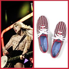 Rockin' out to Taylor Swift? Get your feet in on the action with this guitar print from her Keds collection! You can find them at @Denise H. H. Wilkins.