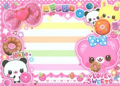 kawaii glitter Memo Pad from Japan with bear bunny cake 5