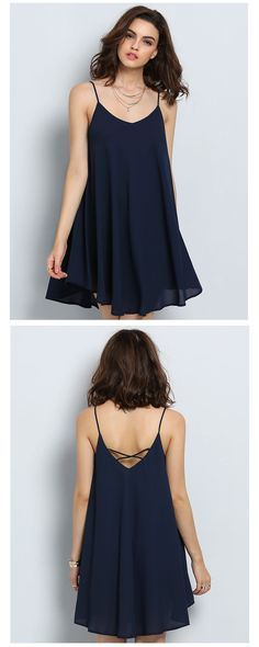 Spaghetti Strap Asymmetrical Shift Dress Sundresses and tons of other cute, cheap dresses from shein