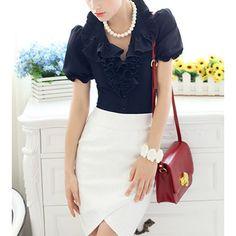 Vintage Ruff Collar Stringy Selvedge Slimming Short Sleeves Women's ShirtVintage Blouses | RoseGal.com