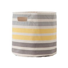 Gray and Yellow Stripes Toy Storage Bin - A truly great find for the nursery, playroom, mudroom or any room! #PNshop