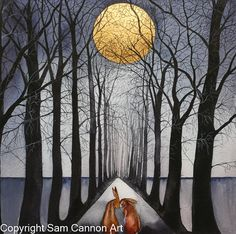 Water colour two hares under moonlit path with tall arching trees overhanging. Available as a giclee print.