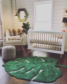 Favorite corner in her favorite room. Such a darling nursery by featuring our cozy Monstera Leaf rug! Favorite corner in her favorite room. Such a darling nursery by featuring our cozy Monstera Leaf rug! Baby Bedroom, Nursery Room, Panda Bebe, Lorena Canals Rugs, Disney Babys, Sala Grande, Nursery Themes, Jungle Theme Nursery, Forest Nursery